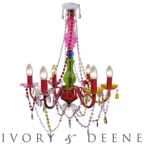 large retro colored chandelier light 6 arm boho