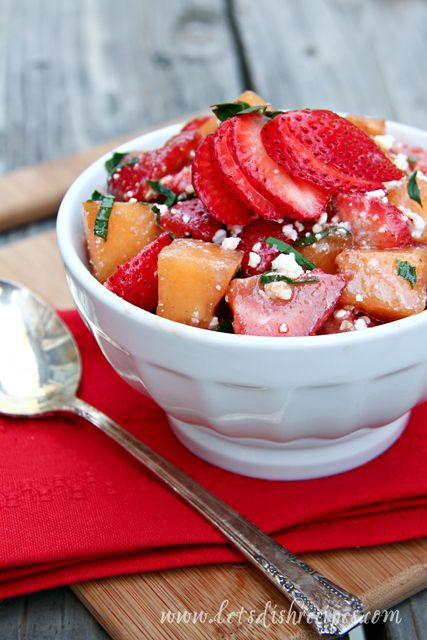 Market Monday: Strawberry Cantaloupe Salad with Mint & Feta (Adjust ...