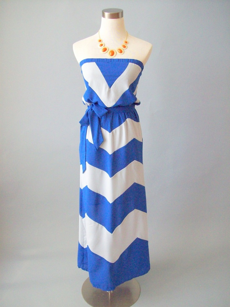 Chevron Maxi Dress-Cobalt