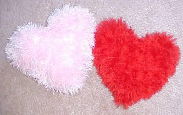 Plush Heart Knitting Pattern : Fuzzy Heart Pillow crochet/knitting Pinterest
