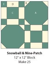 Snow ball and block quilt