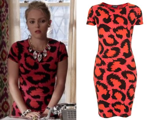 Carrie Bradshaw (AnnaSophia Robb) wears this pink and orange leopard print dress by Topshop in The Carrie Diaries season 2 episode 2 'Expres...