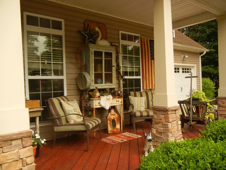 Country Porch With Primitives Outdoor Projects