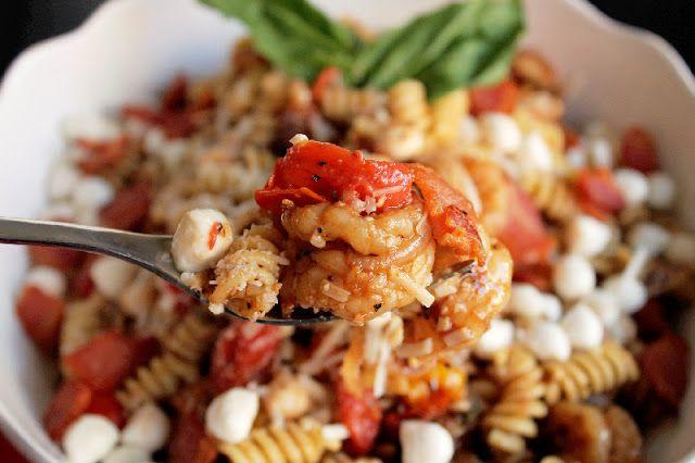 Creole Contessa: Caprese Pasta Salad with Shrimp, Tomatoes, and Triple ...