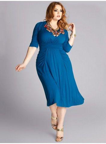 Plus Size Thelma Draped Dress in Deep Azure
