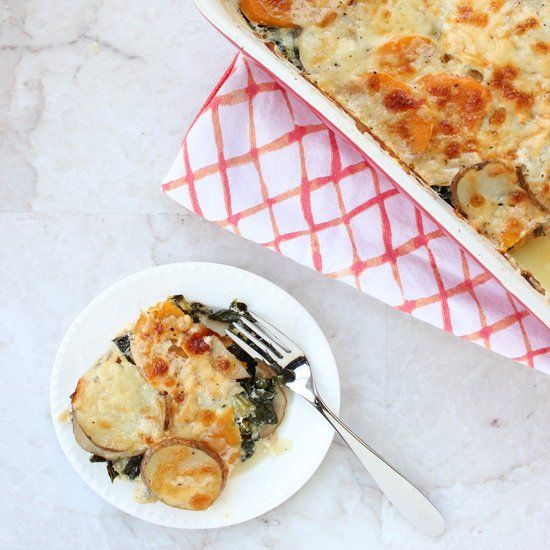 Potatoes & Kale Au Gratin. Made with sweet potatoes and red potatoes ...