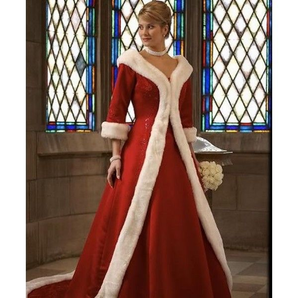 Winter Red Wedding Dresses Unique White Fur Long Sleeve