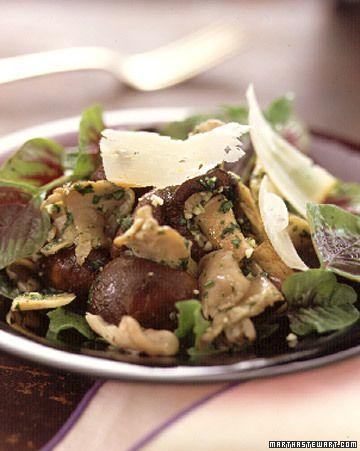 Warm-Mushroom Salad with Pistou Vinaigrette - Martha Stewart Recipes