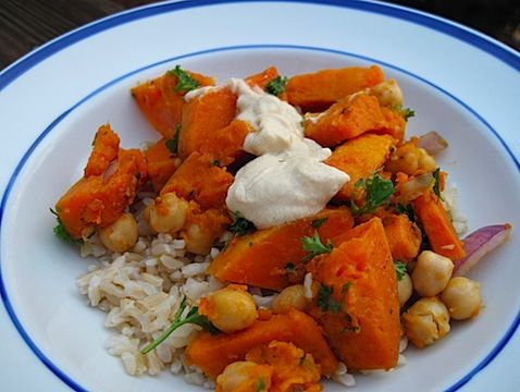 Warm Butternut Squash & Chickpea Salad with Tahini | Recipe
