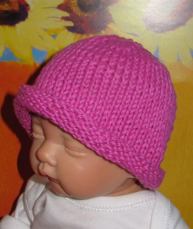 Free Knitting Pattern Baby Rolled Brim Hat : Baby Simple Roll Brim Beanie Hat Baby Knitting Patterns by madmonke?