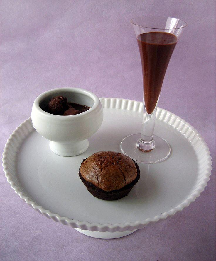 Chocolate trio: Chocolate souffle tart, chocolate malted, and ...