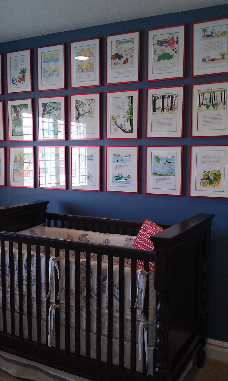 Pages of a favorite storybook framed - great nursery gallery!  --- nursery rhymes would be cool too