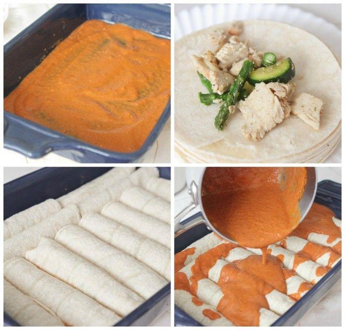 Skinny Chicken Vegetable Enchiladas   Recipe