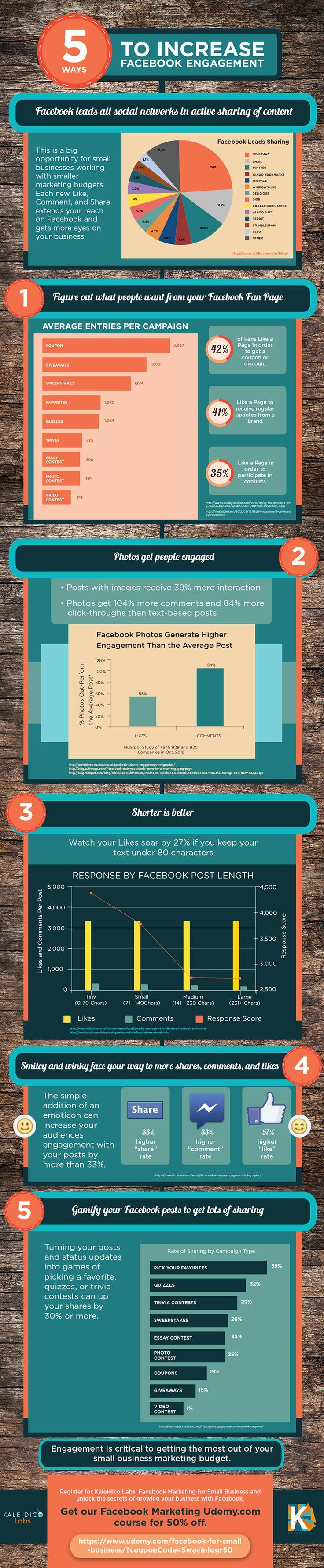 5 Tips to increase Facebook Engagement #infografia #infographic #socialmedia