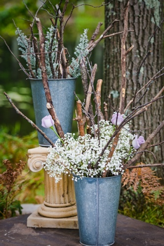 Bash Collective | Minneapolis Wedding Planning | Rustic Wedding Decor | Vintage Maple Syrup Tapping Buckets | Flowering Heather Photography
