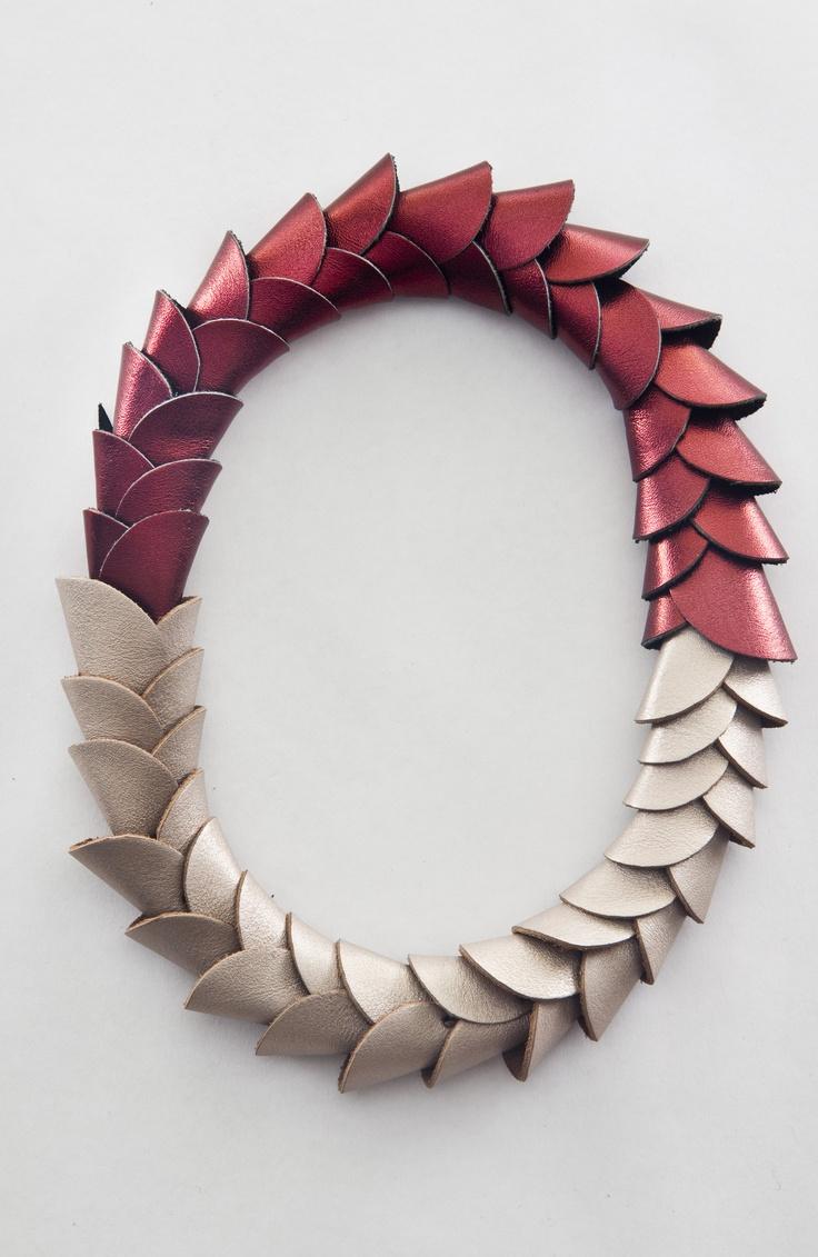 "Maria Boggiano-Jewelry designer-Argentina -  ""vertebrado corto - cuero 2012 - leather, magnet clasp"