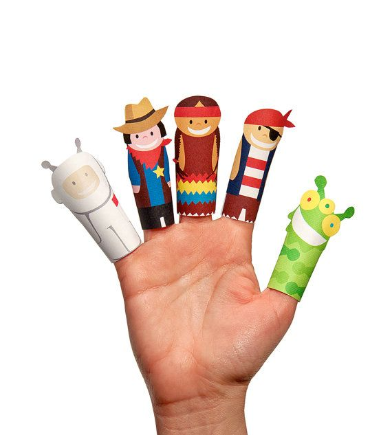 Heroes Paper Finger Puppets - Printable PDF Toy - DIY Craft Kit Paper ...