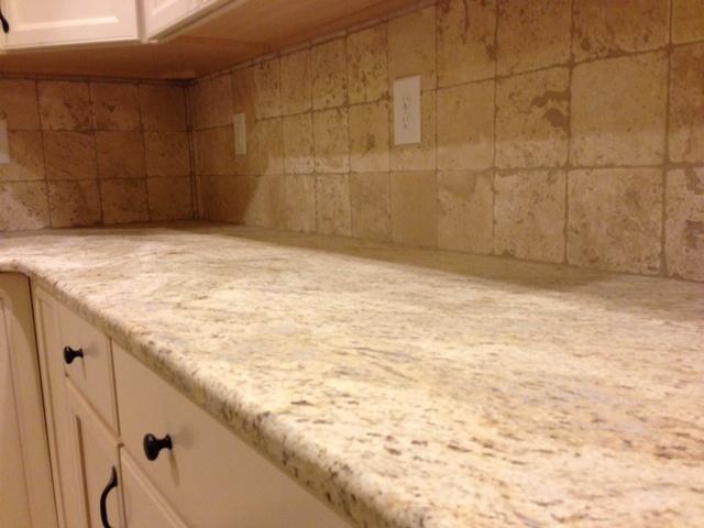 cream backsplash and granite kitchen inspiration pinterest