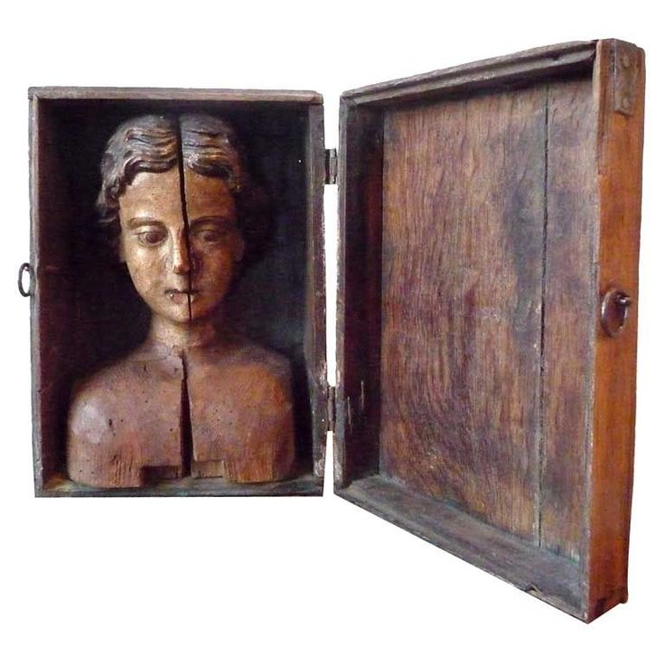 Carved head mounted in box  France  18th C