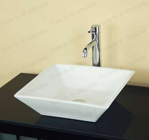 Square Vessel Sink White : Bathroom square White Ceramic Vessel Sink with Brushed Nickel Pop Up ...