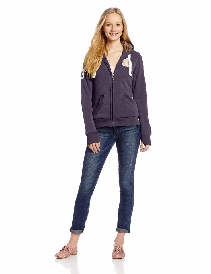 Women's Fleece Jacket with Faux Fox Fur Lined Hood