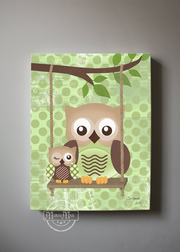 Owl Decor Boys Wall Art OWL Canvas Art Baby Nursery Owl With Swing
