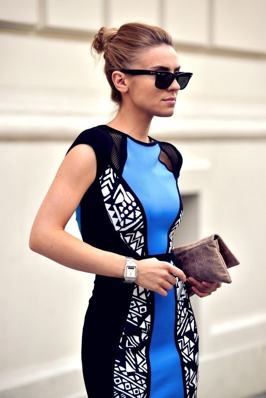 Blue and black street style