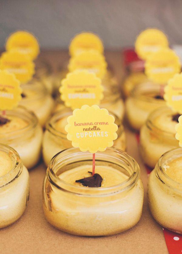 Banana Creme NUTELLA cupcakes (in mini jars)!