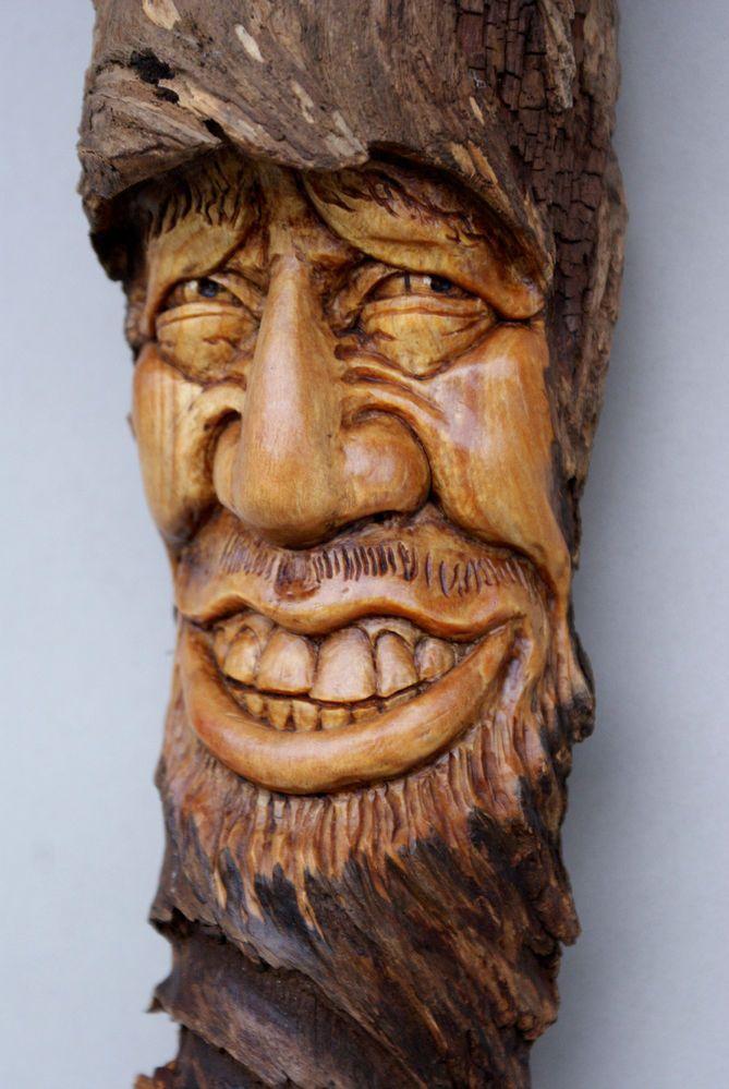 Wood spirit carving hobbit wizard elven forest tree face