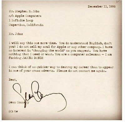 Sean Connery's Letter To Steve Jobs