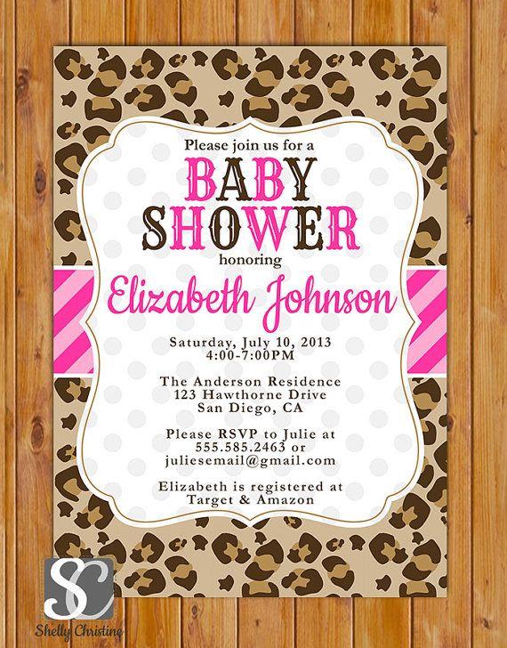 cheetah print baby shower invitation polka dots invite girl baby
