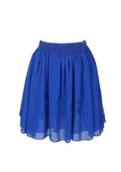 chiffon skirt royal blue