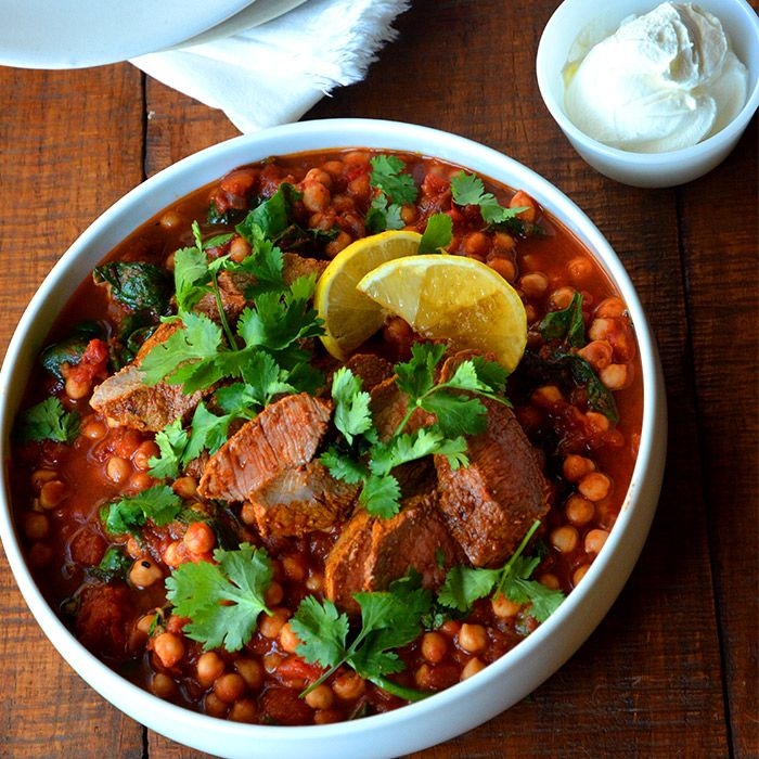 Harissa Lamb with Spinach and Chickpeas | Yummy! | Pinterest