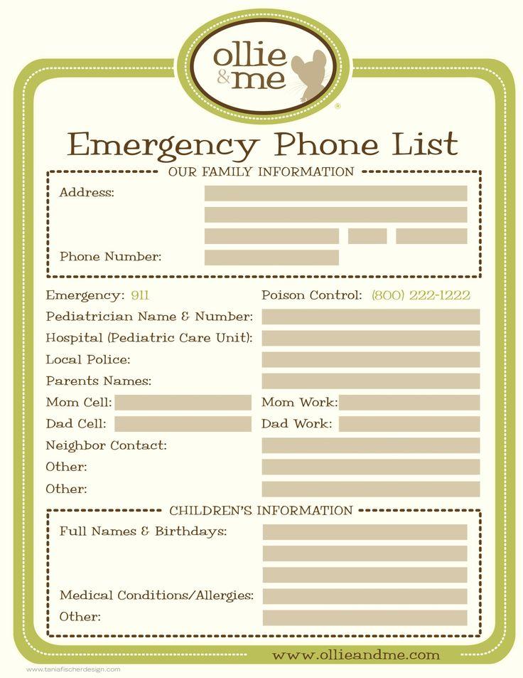emergency contact list template trattorialeondoro
