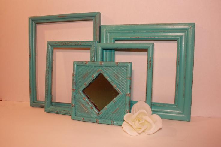 Aqua seafoam turquoise teal picture frame mirror set paris for Teal framed mirror