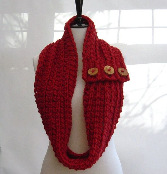 Knitted Cowl Pattern With Buttons : KNITTING PATTERN Infinity Scarf Cowl Chunky button tab Beginner tutor?