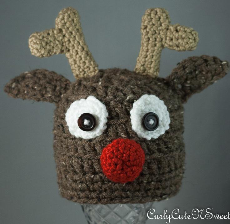 Crochet Reindeer Hat Pattern For Dog : Reindeer Crochet Hat :) Crochet Christmas Pinterest