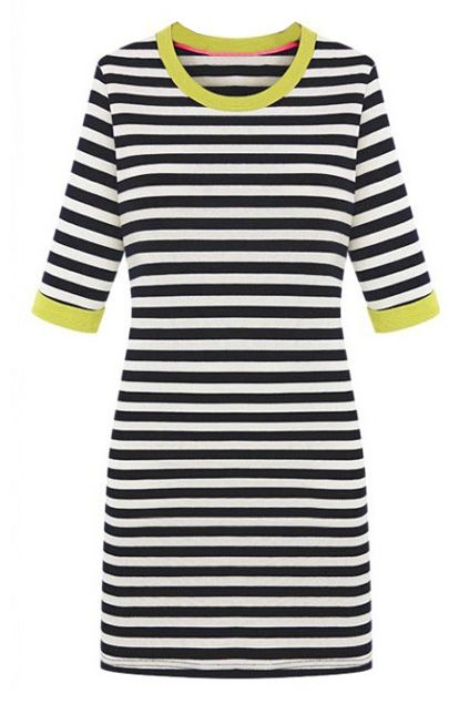 Black and White Strips Yellow Dress