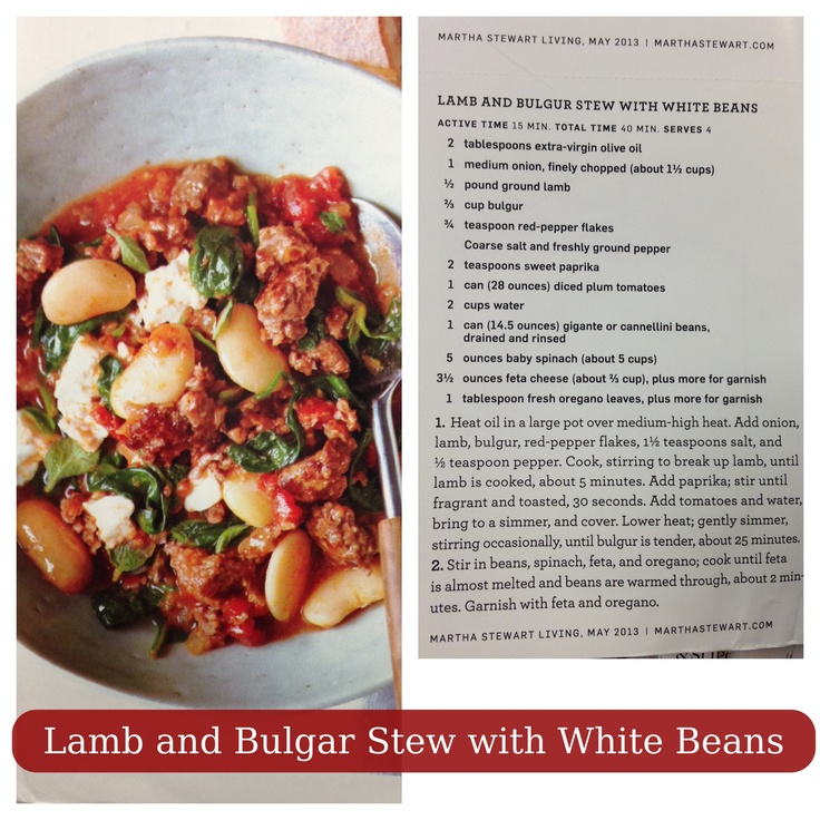Lamb and Bulgar Stew with White Beans | Meals for the Family | Pinter ...