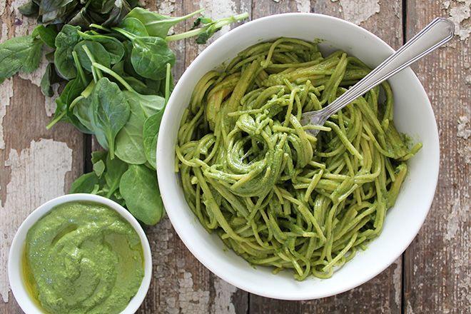 Spinach Basil Pesto | raw vegan basil pesto with a twist: Loaded with ...