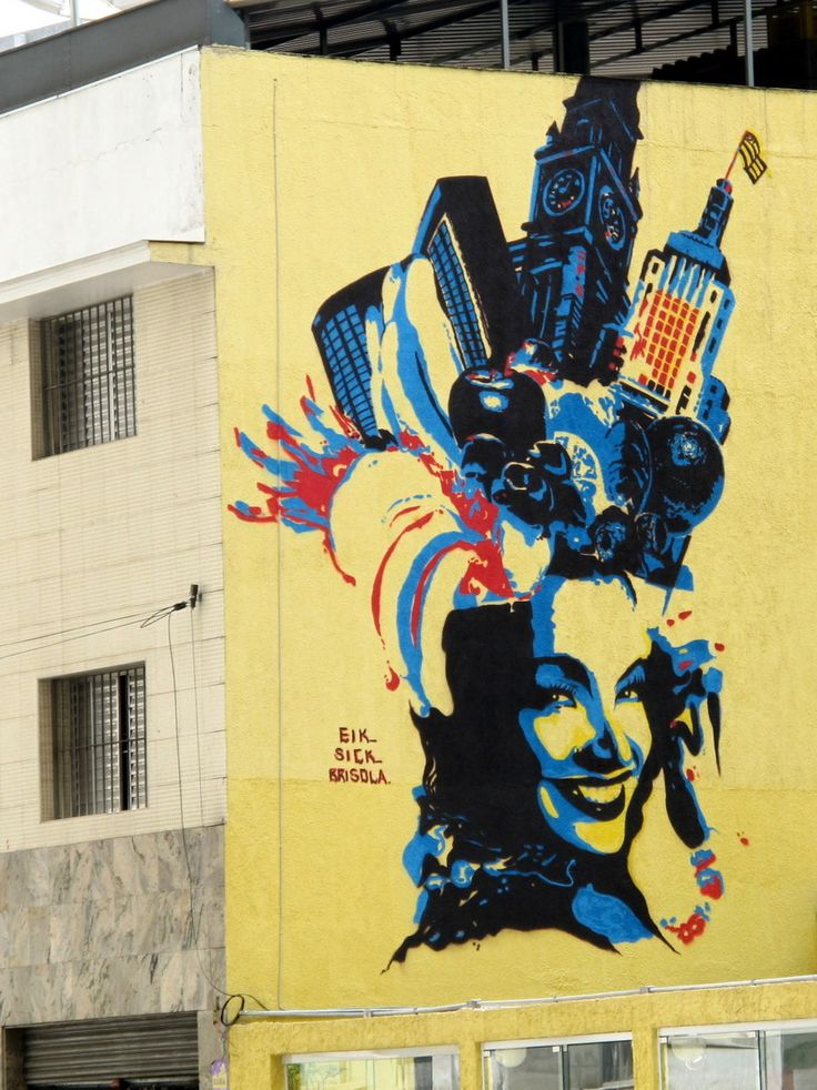 A great example of street art Sao Paulo, Brazil: Carmen Miranda Revisited