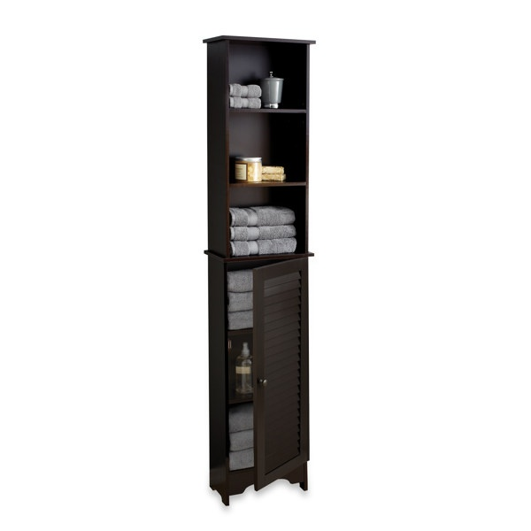 Awesome Pulaski Louvered Bathroom Storage Cabinet In Grey  Bed Bath Amp Beyond