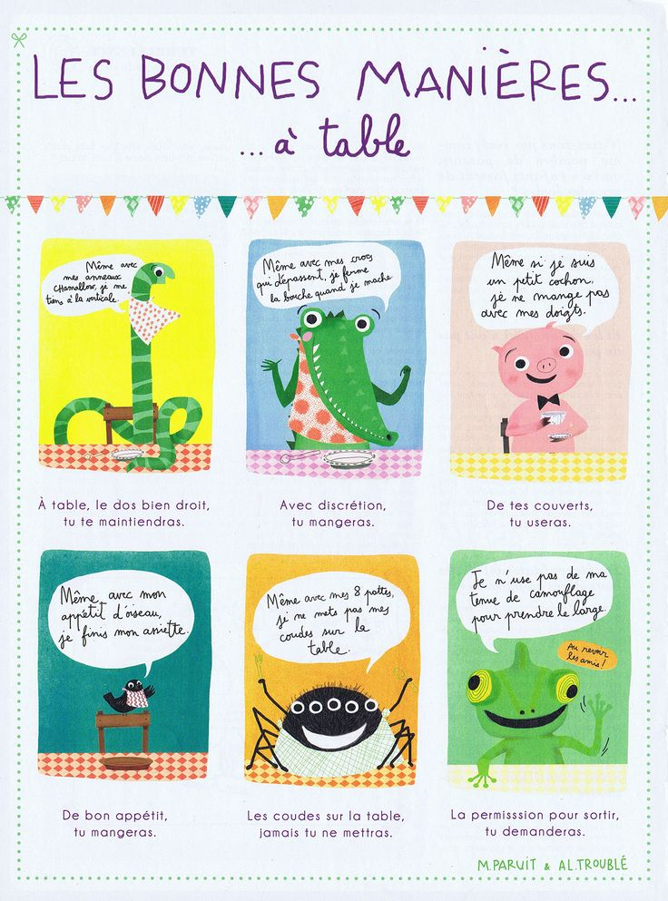 Les bonnes mani res table activit pour enfants - Les bonnes manieres a table en france ...