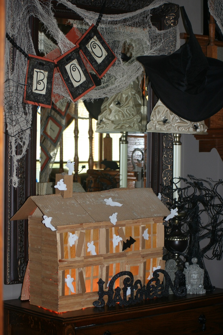 Our popsicle haunted house we made halloween fun pinterest for Pinterest haunted house