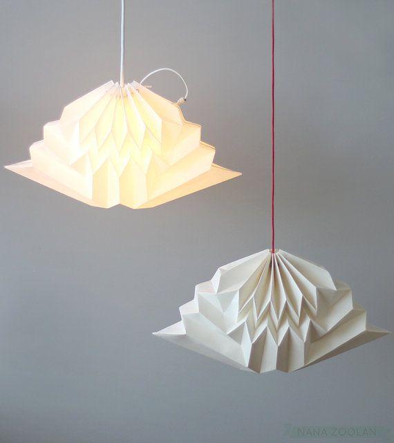 Handmade Wall Lamp Shades : Cloud / Origami Paper Lamp Shade / White Geometric Cloud Pendant Lamp?