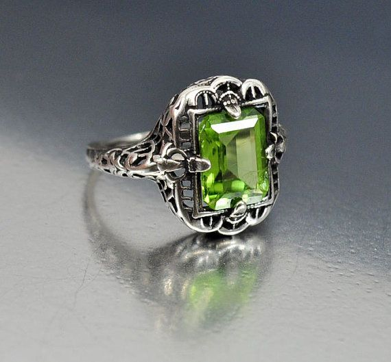 Vintage Sterling Silver Filigree Peridot Ring Size 4 Engagement Ring ...