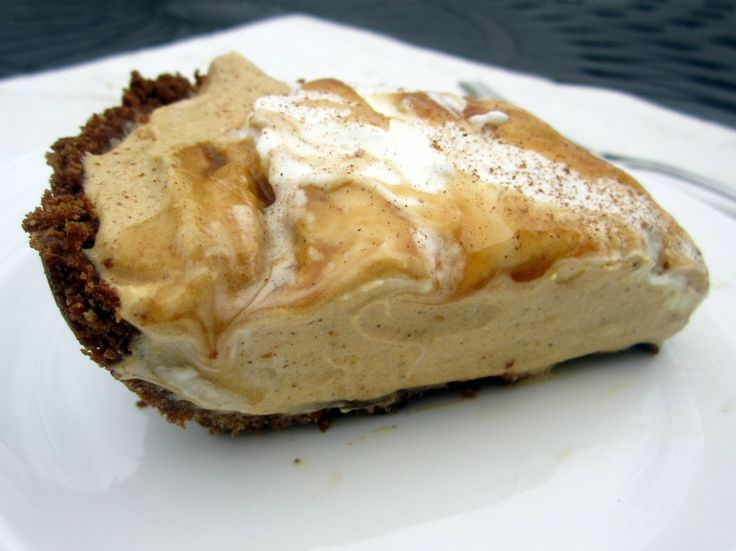 Dulce de Leche Pumpkin Mousse Pie with Pecan Gingersnap Crust | Recipe