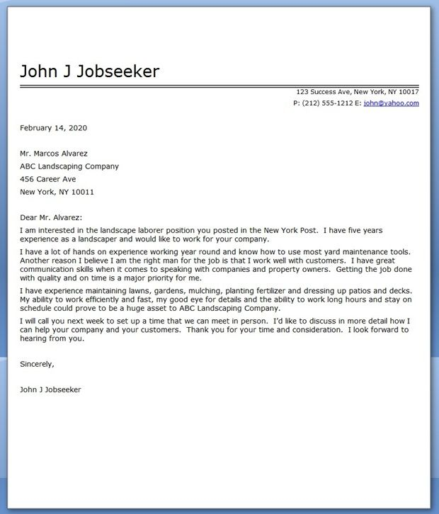landscape architect cover letters