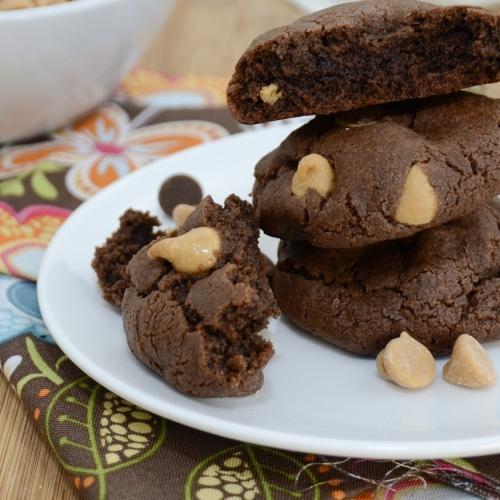 Triple Threat Chocolate Fudge Peanut Butter Cookies