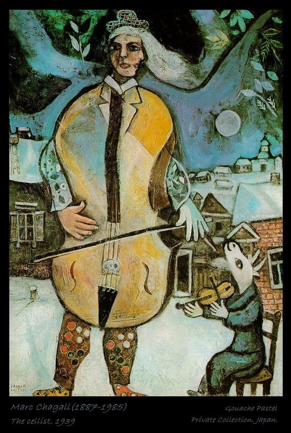 Marc Chagall(1887-1985)  The cellist, 1939, Gouache Pastel  Private Collection. Japan.